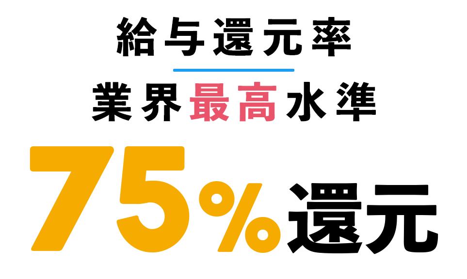 給与還元率 業界最高水準 75%還元